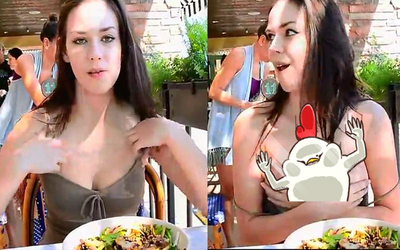 混血正妹邊吃早餐邊直播,突然性致大勃脫衣露兩粒... :被路人抓包太尷尬了!(圖+影)